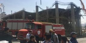اصابات بانهيار سقف مبنى قيد الانشاء في نابلس